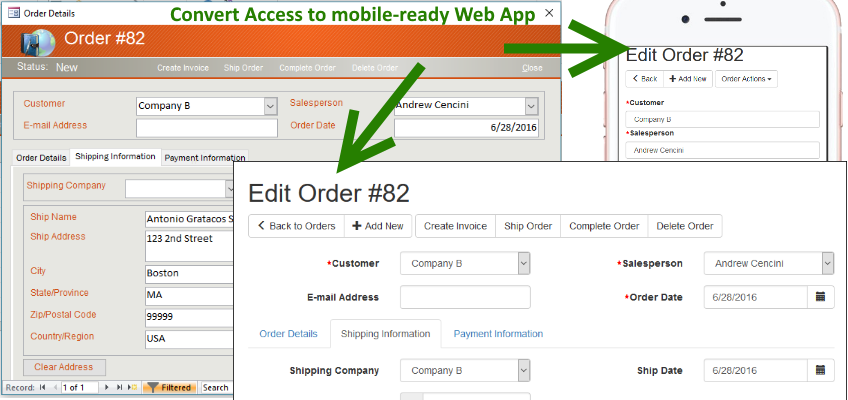 migrate from MS Access to mobile-ready PHP/MySQL Web Application